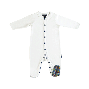 Nevis Luxe Check Foot Romper